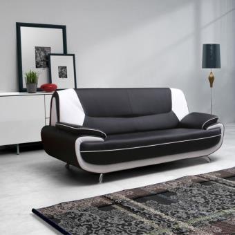 spacio canap droit 3 places noir et blanc achat prix fnac. Black Bedroom Furniture Sets. Home Design Ideas
