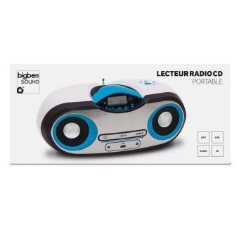 Lecteur cd radio mp3 usb portable blanc et bleu - Lecteur cd usb portable ...