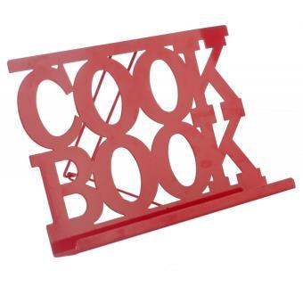 Porte livre de cuisine en m tal rouge support livre de for Support livre de cuisine