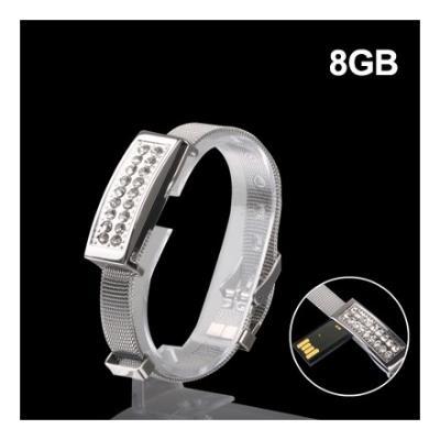 Clé USB 8GB bracelet (argent) Clé USB 8GB bracelet argent Description : 1. Clé USB de capacité de 8GB de bonne qualité et de haute performance. 2. La Clé USB est composée de matière plastique et est de couleur argent. 3.? Adapté à tous systèmes d´exploita