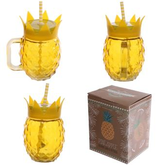 mug ou chope avec paille et couvercle forme ananas achat. Black Bedroom Furniture Sets. Home Design Ideas