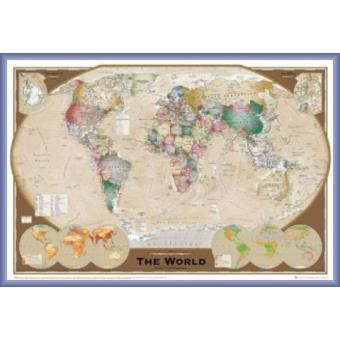 poster encadr cartes world map triple projection 2009 edition en anglais 61x91 cm. Black Bedroom Furniture Sets. Home Design Ideas