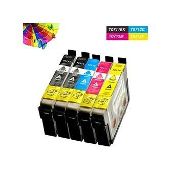pack 5 epson t0711 cartouches compatible avec epson stylus d78 d120 d92 dx6050 dx5000 achat. Black Bedroom Furniture Sets. Home Design Ideas
