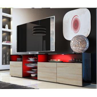Meuble tv noir et bois brut avec tag re vitr e achat - Meuble tv bois brut ...