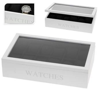 boite coffret de rangement montres pour 12 montres en bois blanc achat prix fnac. Black Bedroom Furniture Sets. Home Design Ideas