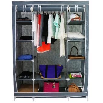 armoire penderie grise en tissu garde robe 3 portes et fermeture zip achat prix fnac. Black Bedroom Furniture Sets. Home Design Ideas