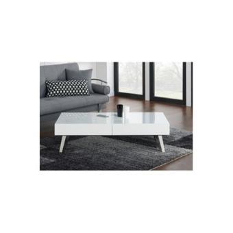Shana table basse 120cm laqu blanc et gris brillant achat prix fnac - Table basse laque blanc et gris ...