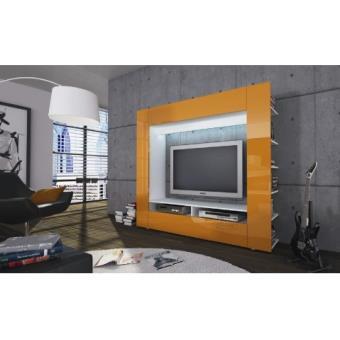 ensemble meuble tv design laqu orange led olli achat prix fnac. Black Bedroom Furniture Sets. Home Design Ideas