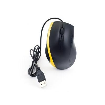 3D Optical USB2.0 mouse with scroll-wheel, dual buttons. Black design with fashionable yellow stripe.