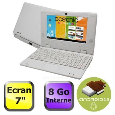 Netbook avec écran 7´´ - Processeur Cortex A9 1,5Ghz - Stockage 8 Go, extensible par carte SD (jusqu´à 16Go) - 3 ports USB 2.0 - Port RJ45 - WiFi 802.11 b/g - Accès à Android Market - Lecteur multimédia - Connecteur jack écouteurs et microphone - Andr