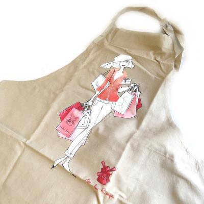 Image du produit Les Trésors De Lily [M5765] - Tablier créateur ´La Parisienne au Moulin Rouge´ beige taupe
