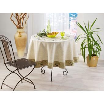 nappe ronde 180cm olive noire lin polyester achat prix fnac. Black Bedroom Furniture Sets. Home Design Ideas