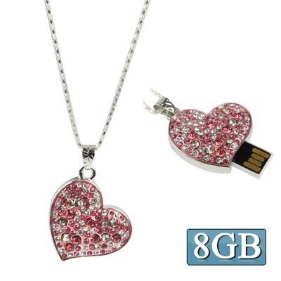 rose heart-shaped Diamond Necklace Style USB Clé Clef USB (8GB)