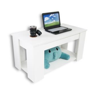 table basse blanche avec plateau relevable et espace rangement achat prix fnac. Black Bedroom Furniture Sets. Home Design Ideas