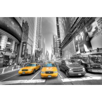 new york papier peint photo poster manhattan taxi jaune devant noir et blanc 4 parties. Black Bedroom Furniture Sets. Home Design Ideas