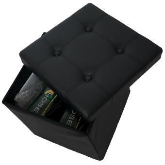 tabouret cube avec coffre de rangement 38 38 38cm pouf simili cuir noir achat prix fnac. Black Bedroom Furniture Sets. Home Design Ideas