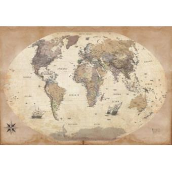 Cartes papier peint photo poster autocollant carte du monde dition 2011 - Papier peint style ancien ...