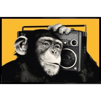 poster encadr singes chimpanz avec ghetto blaster 61x91 cm cadre plastique noir top. Black Bedroom Furniture Sets. Home Design Ideas