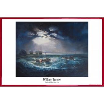 poster encadr joseph william turner p cheurs en mer 1796 61x91 cm cadre plastique rouge. Black Bedroom Furniture Sets. Home Design Ideas