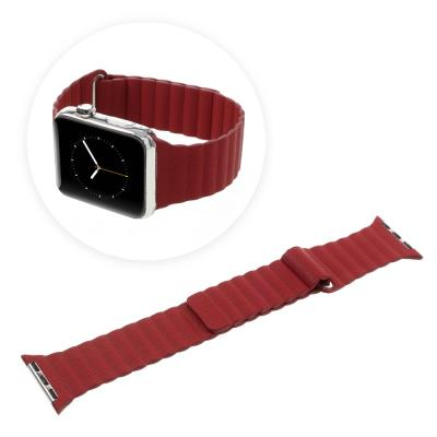 Bracelet magnetique en PU pour Apple Series 2 Series 1 42mm - Red