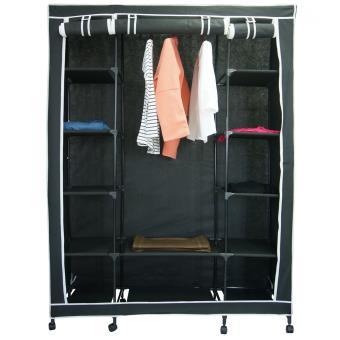 armoire de rangement en tissu noir avec roulettes achat prix fnac. Black Bedroom Furniture Sets. Home Design Ideas