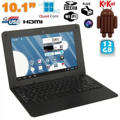 Mini PC Android ultra portable netbook 10 pouces WiFi 12 Go Noir