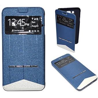 Housse Coque Etui Intelligente View Bleu pour Samsung Galaxy GRAND