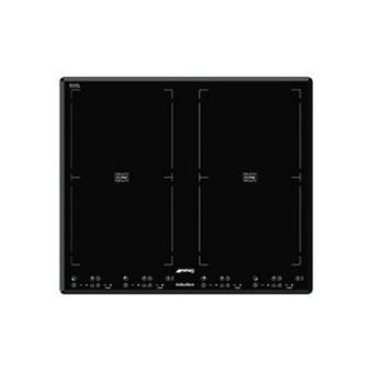 smeg sim62b table de cuisson induction verre noir vitroc ramique avec cadre biseaut. Black Bedroom Furniture Sets. Home Design Ideas