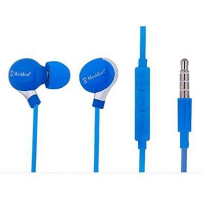 Ecouteurs de style classique avec réglage de volume et micro pour smartphones Bleu