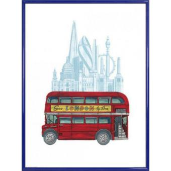 poster reproduction encadr londres autobus imp rial rouge 80x60 cm cadre plastique bleu. Black Bedroom Furniture Sets. Home Design Ideas