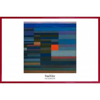 poster encadr paul klee feu au soir 1929 61x91 cm cadre plastique rouge. Black Bedroom Furniture Sets. Home Design Ideas