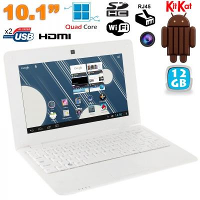 Mini PC Android ultra portable netbook 10 pouces WiFi 12 Go Blanc