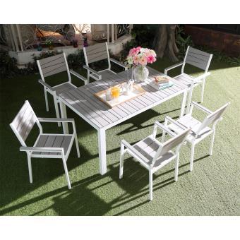 Salon de jardin siderno 6 aluminium et polywood gris for Salon de jardin lamia gris