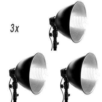 kit d 39 clairage lumi re continue 3 douilles de studio photo e27 220v 3 bols r flecteurs alu. Black Bedroom Furniture Sets. Home Design Ideas