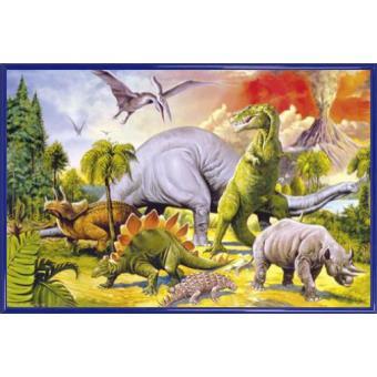poster encadr dinosaures collage monde dino 61x91 cm cadre plastique bleu top prix fnac. Black Bedroom Furniture Sets. Home Design Ideas