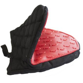 manique cuisine textile et silicone noir et rouge achat prix fnac. Black Bedroom Furniture Sets. Home Design Ideas