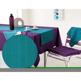 nappe rectangulaire 140x250 lulu word bleu canard achat. Black Bedroom Furniture Sets. Home Design Ideas