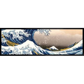 poster reproduction encadr katsushika hokusai la grande vague de kanagawa 30x91 cm cadre. Black Bedroom Furniture Sets. Home Design Ideas