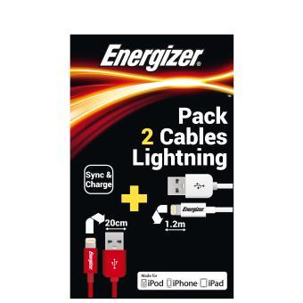 pack de 2 c bles energizer lightning blanc et rouge accessoire pour t l phone mobile achat. Black Bedroom Furniture Sets. Home Design Ideas