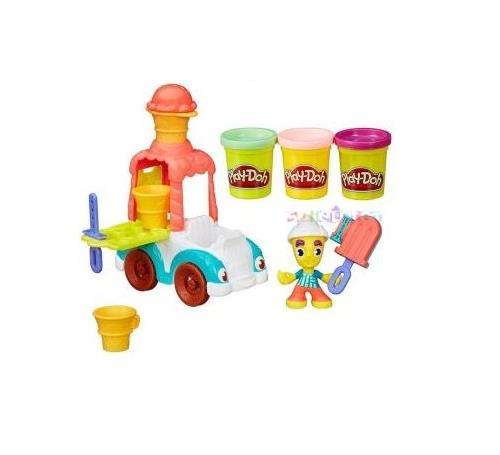 Bienvenus à Play-Doh Town ! Découvrez une nouvelle façon de jouer avec le Marchand de glaces: le marchand de glace et son camion font découvrir leurs glaces maison à toute la ville grâce à l´extrudeur et aux cônes !