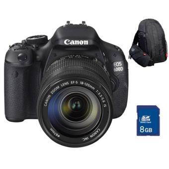 Pack Fnac : Canon EOS 600D + Obj. Canon EF-S IS 18 - 135 mm f/3.5 - 5.6 + Sac à dos 300EG + Carte SDHC 8 Go