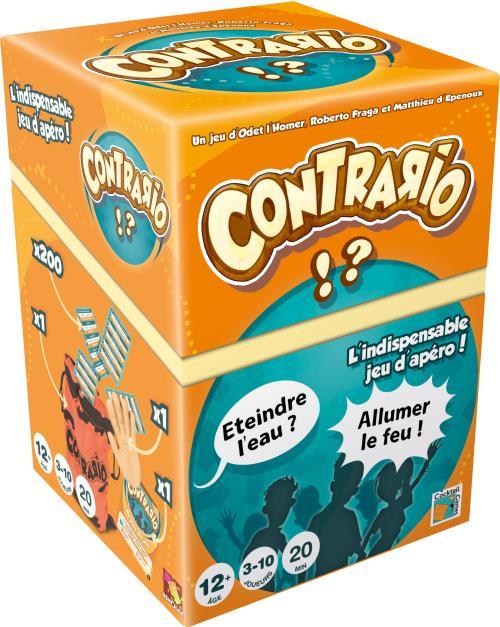 ASMODEE Contrario revient dans une compilation des deux boîtes originelles du jeu. Idéal entre amis ou en famille. Devinez les titres de films, de livres, de chansons à partir d´une définition dont chaque mot est remplacé par un synonyme ou un contraire.