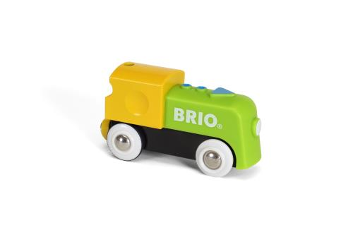 Il est temps que les jeunes conducteurs de train puissent jouer avec un train qui avance tout seul. Appuyez simplement sur le bouton avec la flèche sur le dessus et le train démarre. Appuyez une nouvelle fois pour que le train s´arrête. Les aimants de con