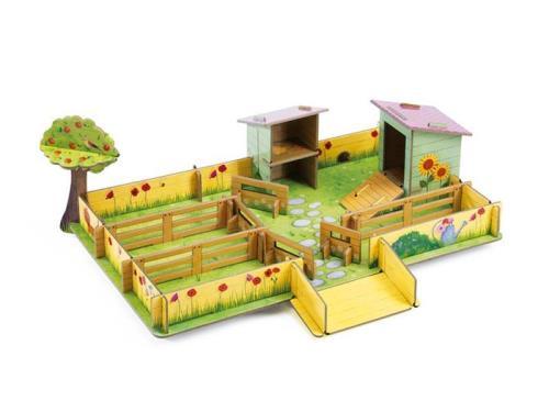 Cette jolie ferme en carton très solide est à construire par votre enfant. Il pourra alors jouer avec ses figurines et inventer de nombreuses histoires. Seule la ferme est fourni.
