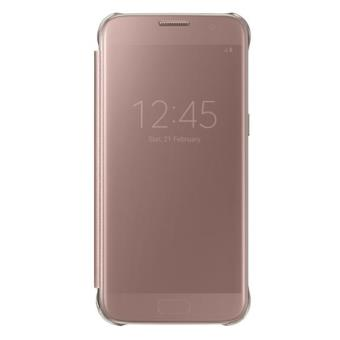 Etui Samsung Clear View Cover pour Galaxy S7 Edge Or Rose