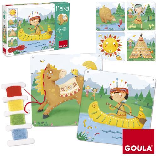 Un jeu de laçage amusant avec des illustrations inspirées du monde des indiens! L´enfant complète les 6 fiches en carton avec l´aiguille et les 6 fils de laine de couleurs. Les modèles guideront l´enfant sur le choix de la couleur qui correspond au bon en