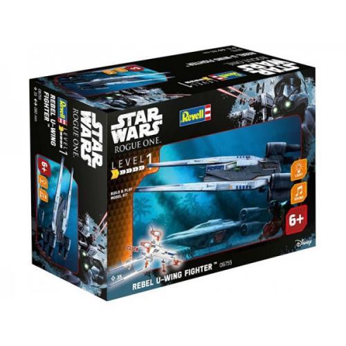 Jouet en kit à monter représentant le solide U-wing Fighter, le vaisseau d´attaque de l´Alliance rebelle du film « Star Wars : ROGUE ONE ». Le U-wing Fighter est un vaisseau lourdement armé à ailerons mobiles qui s´introduit dans les zones de combat pour