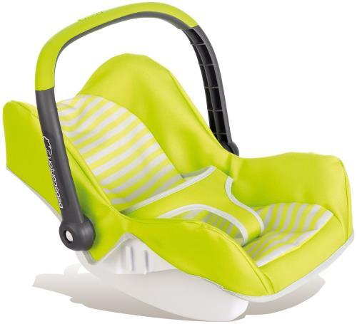 Siège auto Bébé Confort pour poupon! Pour balader son poupon comme les vraies mamans! - poignée orientable. - coque en plastique recouverte de tissu. - coffre de rangement à l´arrière du siège. Très léger, facile à transporter. Pour poupon jusqu´à 42 cm.