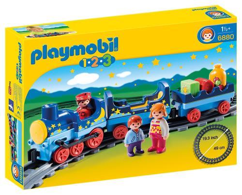 Montez à bord du train étoilé. Le conducteur achemine les passagers du wagon où bon leur semble. Locomotive avec une place pour le conducteur. Les deux personnages peuvent s´assoir dans le wagon passagers. Le train roule. Contient 3 personnages, 1 locomot