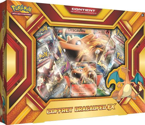 Préparez-vous pour de nouvelles aventures avec Dracaufeu-EX, l´un des Pokémon les plus féroces et adorés ! Ce coffret contient: - 1 carte promo brillante de Dracaufeu-EX - 1 carte grand format de Dracaufeu-EX - 4 boosters du JCC Pokémon - 1 carte à code p